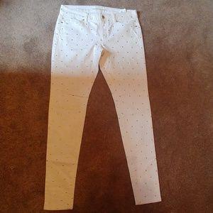 Michael Kors cream white skinny jeans gold studs
